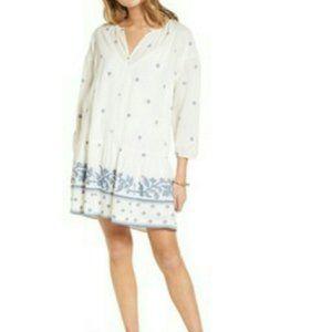 Madewell Boho Cream / blue drop waist dress med